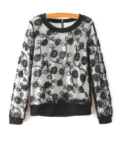 Flower Print Round Collar Long Sleeves Lace Sweatshirt - Black L