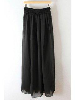 Pleated High Waisted Chiffon Long Skirt - Black