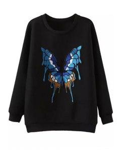 Butterfly Pattern Jewel Neck Long Sleeve Sweatshirt - Black S
