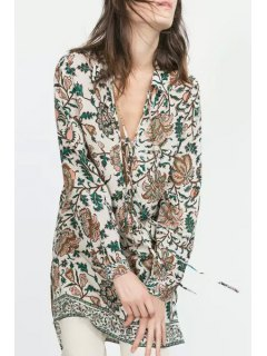 Floral Print Turn-Down Collar Long Sleeves Lace-Up Dress - M
