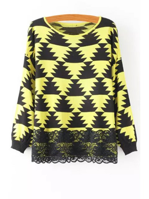 online Geometric Pattern Lace Spliced Sweater - YELLOW ONE SIZE(FIT SIZE XS TO M) Mobile