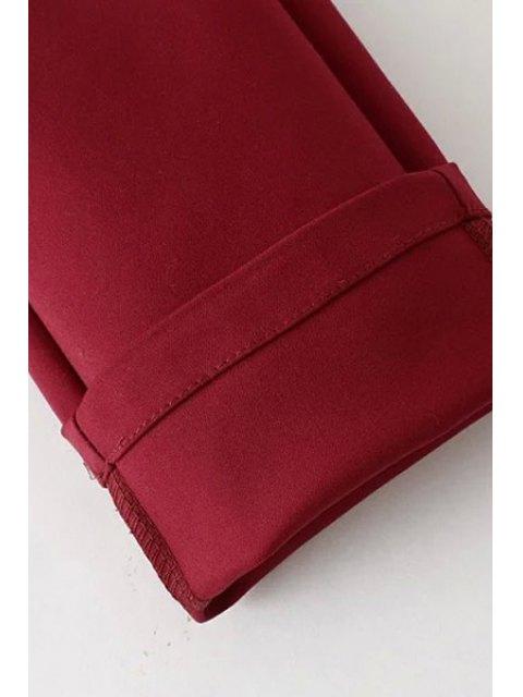 Mid-Waisted Pantalon rouge aux pieds étroits - Rouge L Mobile