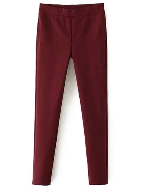 Pantalon à cassure étroite à couleur rouge - Rouge L Mobile