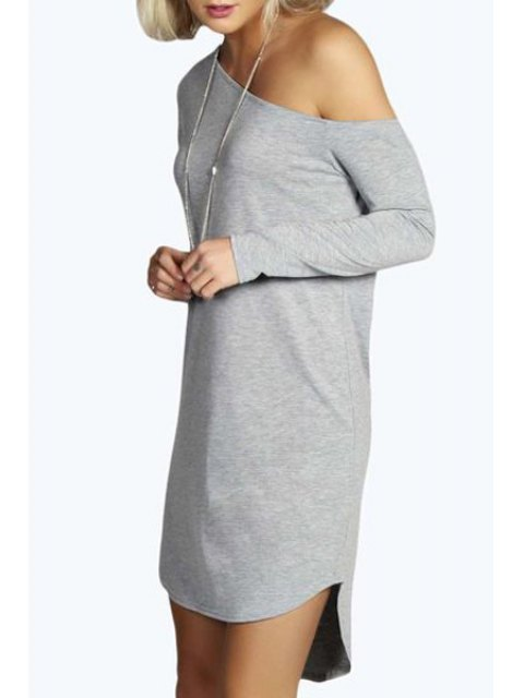 ladies One-Shoulder Long Sleeve Dress - GRAY S Mobile