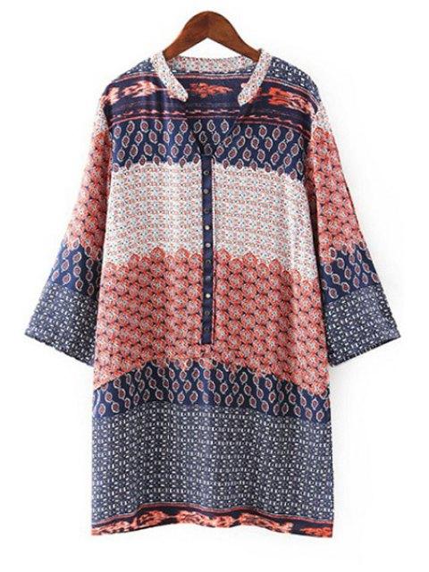 trendy V Neck Tiny Floral Print Long Sleeve Dress - ORANGE M Mobile