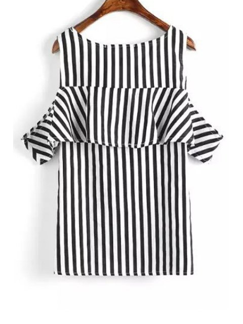 fashion Short Sleeve Striped Cut Out T-Shirt - WHITE AND BLACK L Mobile