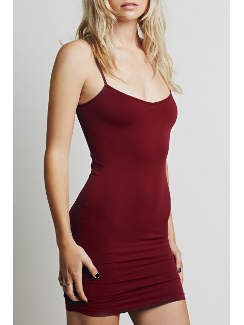 trendy Solid Color Cami Bodycon Dress - PURPLISH RED XL Mobile