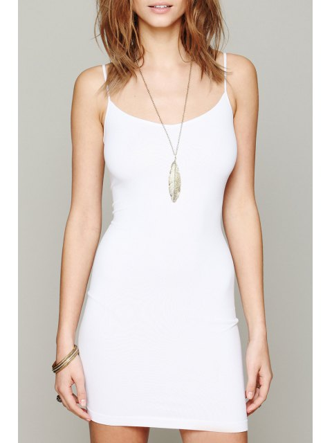 fashion Solid Color Cami Bodycon Dress - WHITE S Mobile