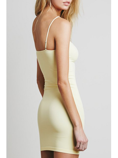 outfit Solid Color Cami Bodycon Dress - LIGHT YELLOW L Mobile