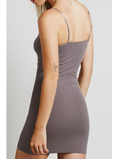 fancy Solid Color Cami Bodycon Dress - LIGHT COFFEE S Mobile