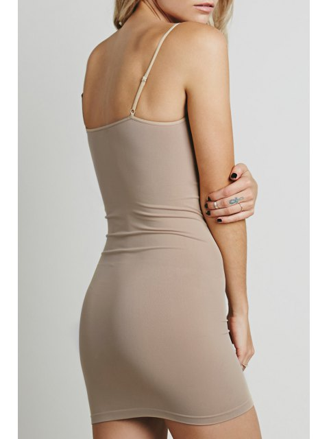 womens Solid Color Cami Bodycon Dress - LIGHT BROWN XL Mobile
