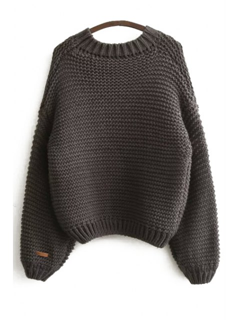 outfits Pure Color Long Sleeve Sweater - DEEP GRAY ONE SIZE(FIT SIZE XS TO M) Mobile