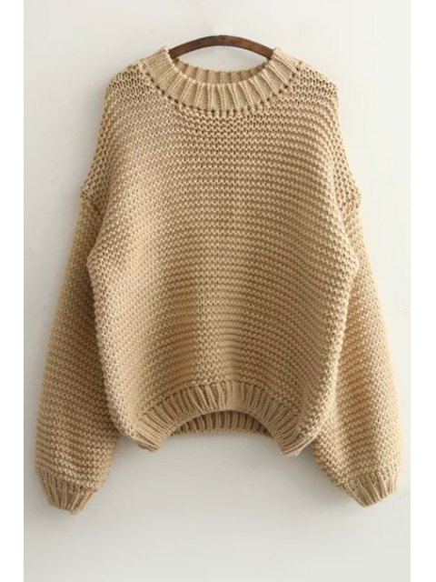 outfit Pure Color Long Sleeve Sweater - KHAKI ONE SIZE(FIT SIZE XS TO M) Mobile