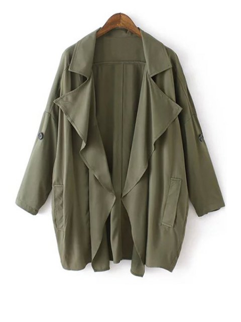 shops Solid Color Loose-Fitting Trench Coat - GREEN S Mobile