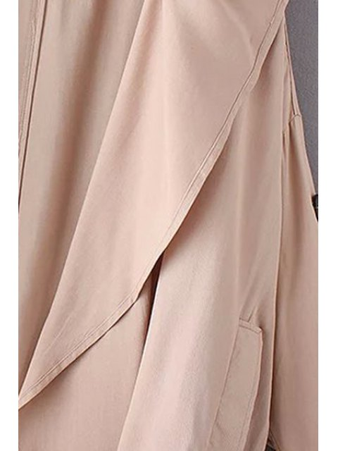 sale Solid Color Loose-Fitting Trench Coat - PINK S Mobile