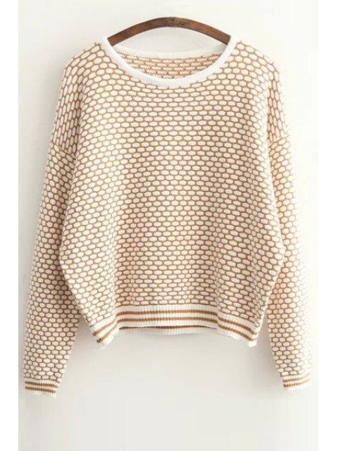 women Tiny Plaid Pattern Long Sleeve Sweater - KHAKI ONE SIZE(FIT SIZE XS TO M) Mobile