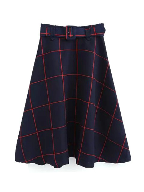 women's Plaid A-Line Midi Skirt With Belt - RED L Mobile