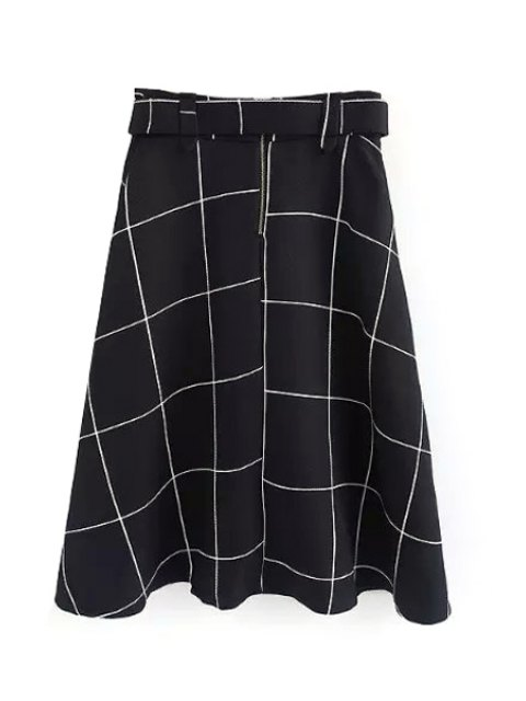 new Plaid A-Line Midi Skirt With Belt - WHITE L Mobile