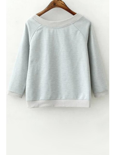 new 3/4 Sleeve Letter Pattern Sweatshirt - GRAY M Mobile