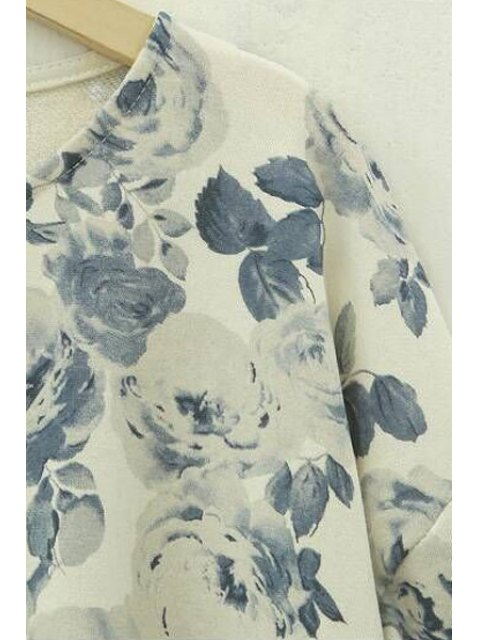 women's Floral Print High Low Long Sleeve T-Shirt - BEIGE 5XL Mobile