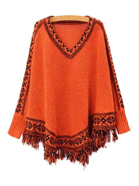 fashion Batwing Sleeve Tassels Cape Sweater - JACINTH ONE SIZE(FIT SIZE XS TO M) Mobile