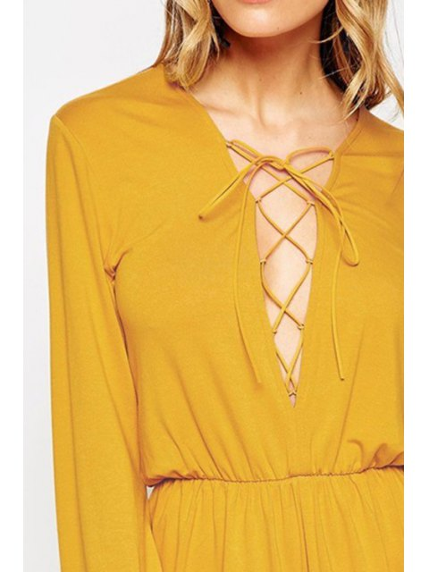 outfits Plunging Neck Lace-Up Romper - YELLOW M Mobile