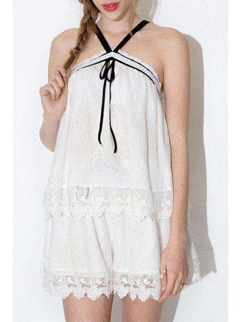 women Pure Color Lace Shorts - WHITE M Mobile