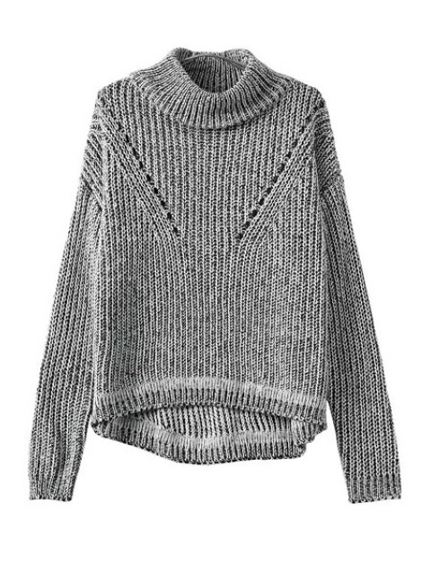 buy Turtle Neck Color Mixed Openwork Sweater - GRAY ONE SIZE(FIT SIZE XS TO M) Mobile
