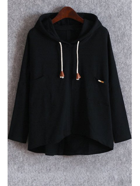 unique Pockets Slouchy Pullover Hoodie - BLACK ONE SIZE(FIT SIZE XS TO M) Mobile