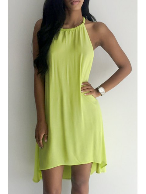 women Backless Solid Color Flare Dress - YELLOW S Mobile
