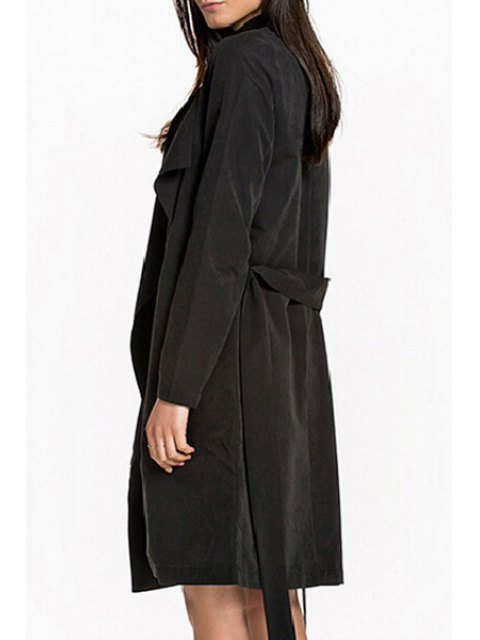 shops Self Tie Turn Down Collar Long Sleeve Trench - BLACK XL Mobile