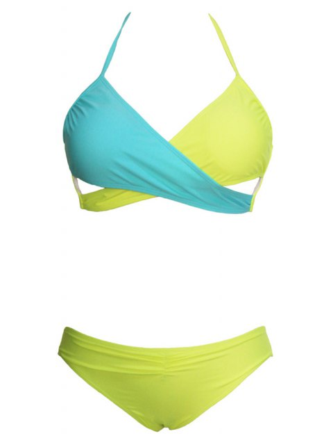 women's Ombre Sexy Halter Bikini Set - YELLOW S Mobile