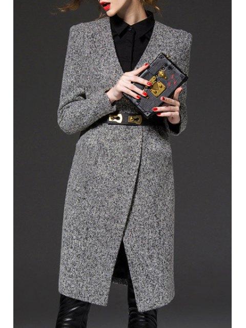 chic V-Neck Gray Trench Coat - GRAY S Mobile