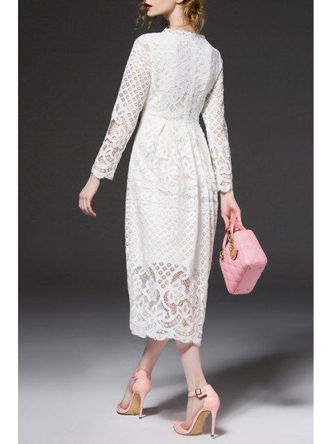 shop Openwork Lace Hook Midi Dress - WHITE L Mobile