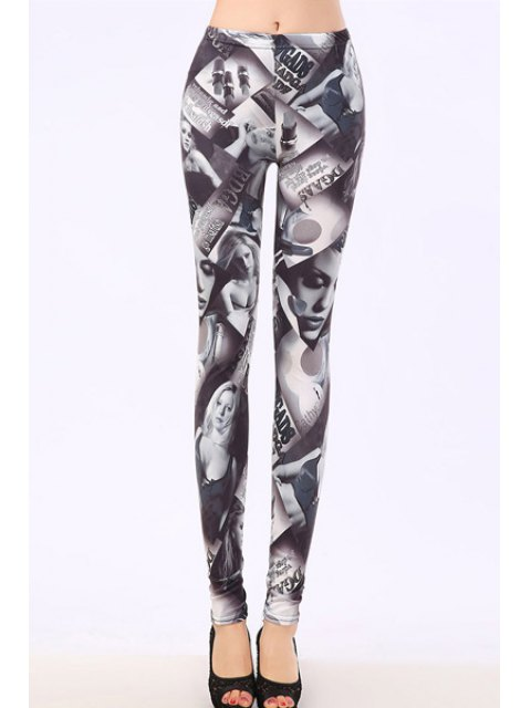 online Bodycon Sexy Figure Pattern Leggings - GRAY ONE SIZE(FIT SIZE XS TO M) Mobile