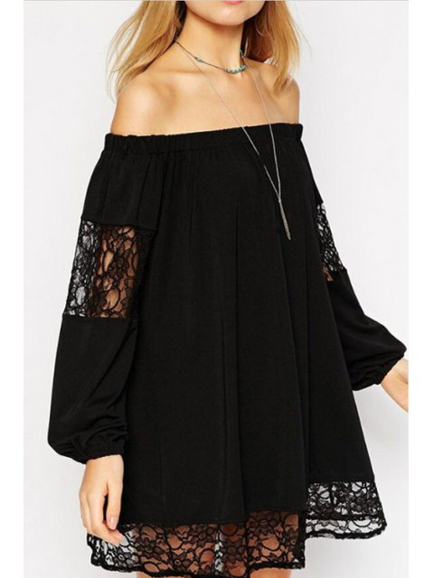 online Lace Spliced Slash Collar Long Sleeve Dress - BLACK L Mobile