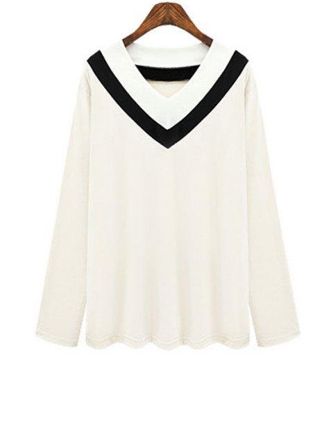 hot V Neck Color Block Stripe T-Shirt - WHITE 4XL Mobile