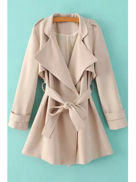 sale Turn-Down Collar Belt Pure Color Trench Coat - KHAKI M Mobile