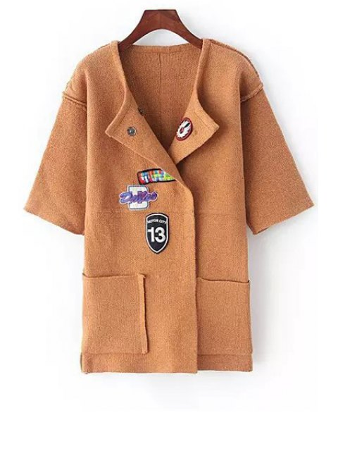 ladies Turn-Down Collar Applique Embellished Cardigan - KHAKI ONE SIZE(FIT SIZE XS TO M) Mobile