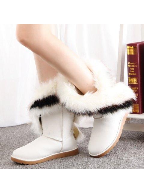 outfit Color Block Faux Fur Snow Boots - WHITE 41 Mobile