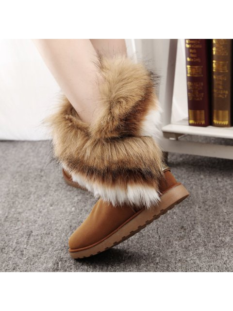 fashion Color Block Faux Fur Snow Boots - BROWN 41 Mobile