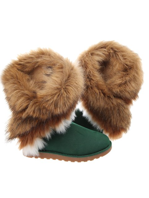 unique Color Block Faux Fur Snow Boots - GREEN 41 Mobile