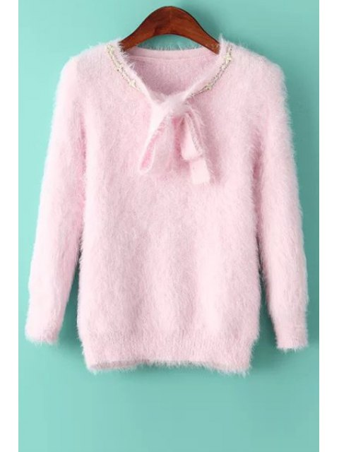 womens Solid Color Self Tie Long Sleeve Pullover Sweater - PINK ONE SIZE(FIT SIZE XS TO M) Mobile