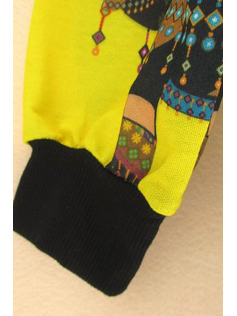 outfits Elephant Print Sweatshirt - YELLOW M Mobile