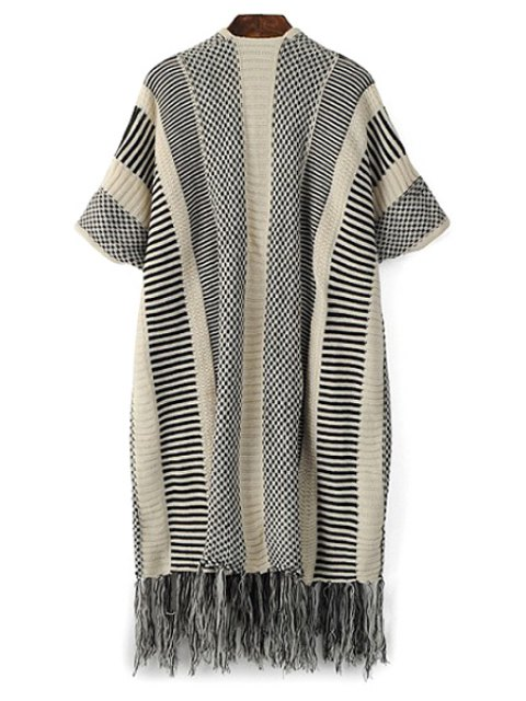 online Open Front Short Sleeve Tassels Cardigan - GRAY ONE SIZE(FIT SIZE XS TO M) Mobile