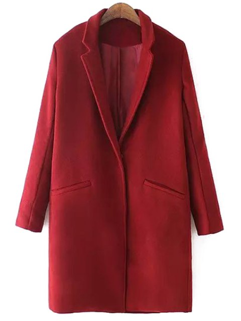lady Lapel Solid Color Pocket Trench Coat - RED L Mobile