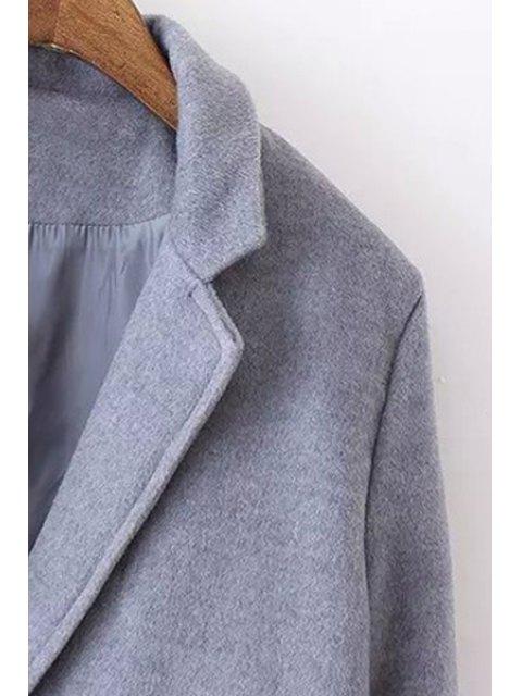 ladies Lapel Solid Color Pocket Trench Coat - BLACK M Mobile