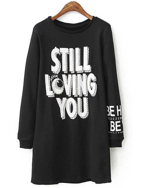 sale White Letter Print Long Sleeve Dress - BLACK L Mobile