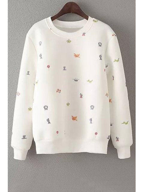 womens Embroidery Round Neck Long Sleeve Sweatshirt - OFF-WHITE S Mobile