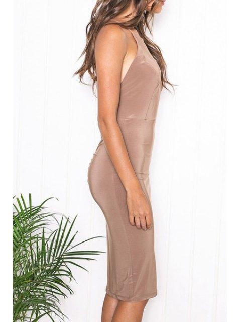 ladies Solid Color Sleeveless Spaghetti Strap Cross Dress - KHAKI M Mobile